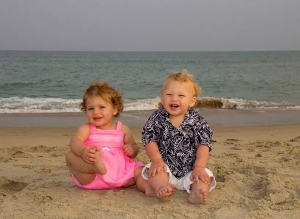 DeAnna Scott and twins at the beach