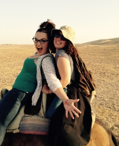 Sara and Ocean on a camel
